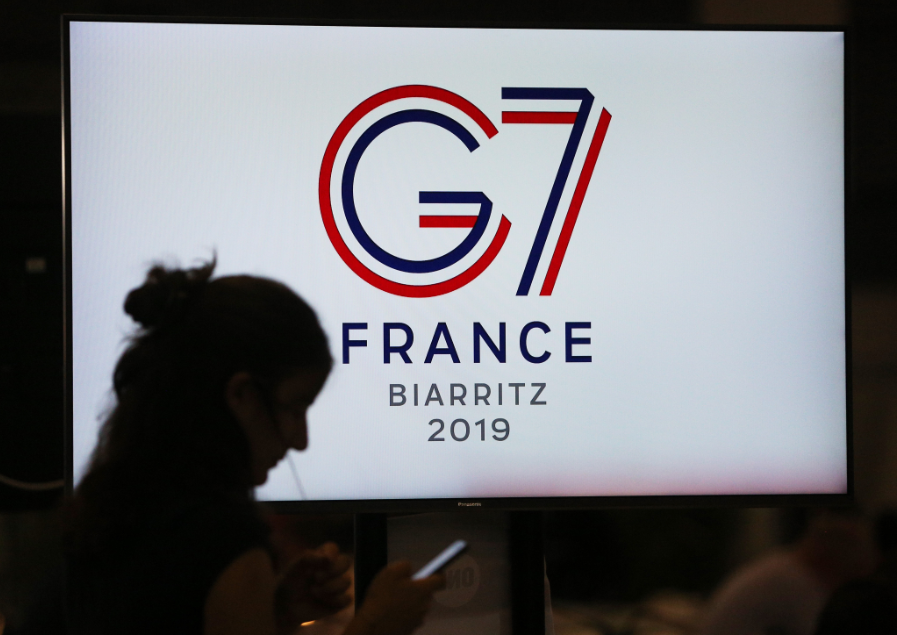 Periodistas activos en la Cumbre del G7 en Biarritz