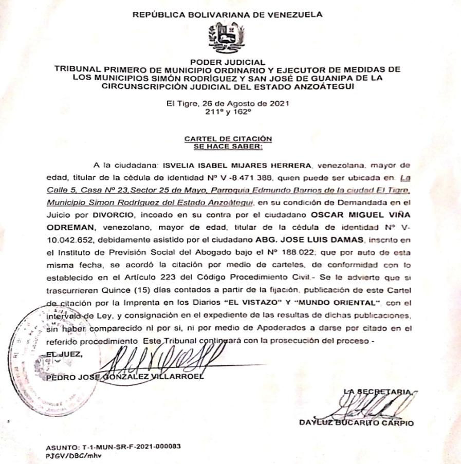 En atención a la ciudadana Isvelia Isabel Mijares Herrera, C.I. 8.471.388.