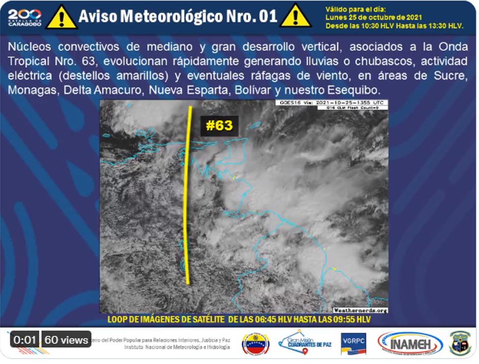Anzoátegui registra lluvias este lunes por efecto de la Onda Tropical 63